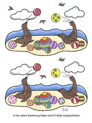 Fehlersuchbild, Seehunde mit Bällen, Bilderrätsel