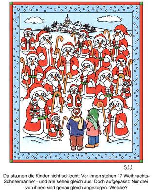 Suchbild mit Weihnachts-Schneemännern, Bilderrätsel