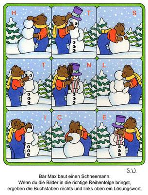 Suchbild, Bär baut einen Schneemann, Bilderrätsel