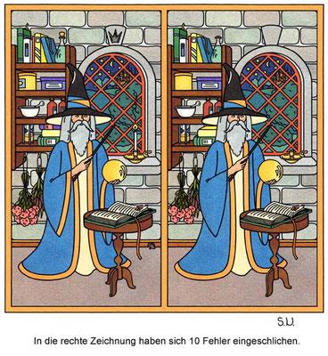 Fehlersuchbild, Zauberer im Schlossgewölbe, Bilderrätsel