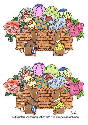 Osterrätsel, Fehlersuchbild, Osterkorb mit Eiern und zwei Hasen, Bilderrätsel