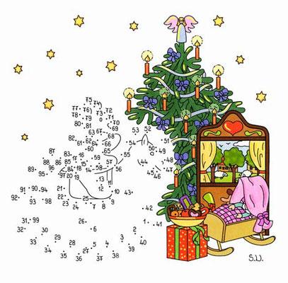 Weihnachtsrätsel, Malen nach Zahlen, Schaukelpferd mit Teddy und Geschenken, Bilderrätsel, Punkte verbinden