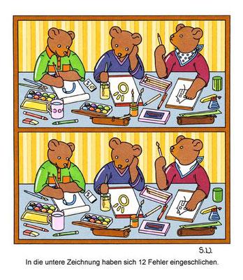 Fehlersuchbild, Bären in der Schule, Bilderrätsel