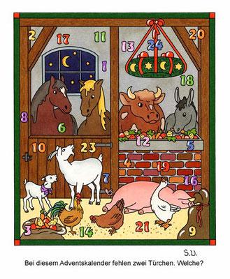 Weihnachtsrätsel, Suchbild, Tiere in einem Stall, Adventskalender, Bilderrätsel