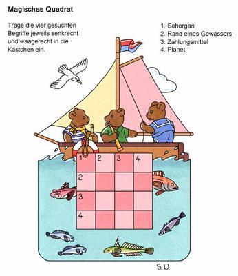 Magisches Quadrat, Bären in einem Segelboot, Bilderrätsel