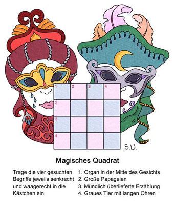 Magisches Quadrat mit Masken, Karneval, Fasching, Worträtsel