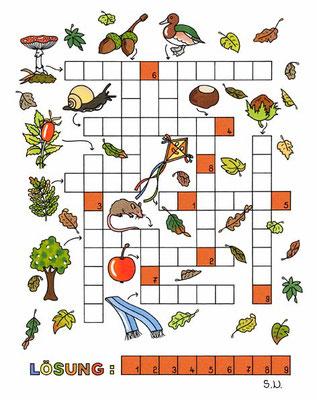 Kreuzworträtsel, Herbst, Bilderrätsel