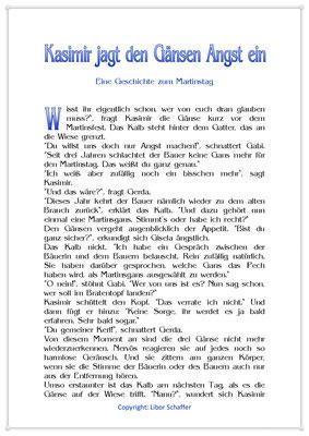 Kasimir jagt den Gänsen Angst ein, Eine Geschichte für Kinder zum Martinstag, Seite 1