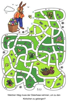 Osterrätsel, Labyrinth mit Osterhase und Körbchen, Bilderrätsel