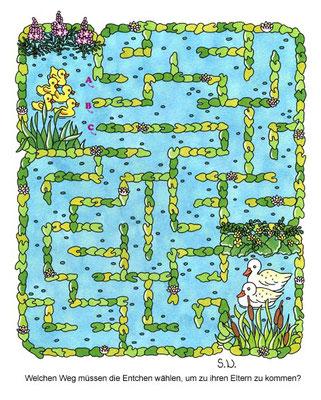 Labyrinth mit Enten und Küken im See, Bilderrätsel