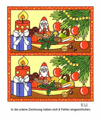 Weihnachtsrätsel, Fehlersuchbild, Nikolausgeschenk mit Teller, Bilderrätsel