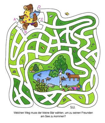Labyrinth mit Bär und Badesee, Bilderrätsel