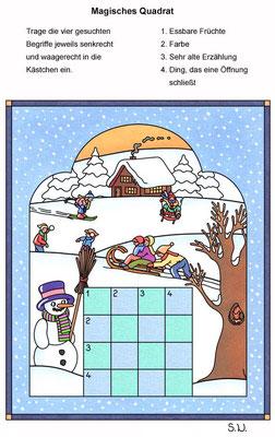 Magisches Qudrat mit Schneemann und Kindern, Winter, Bilderrätsel