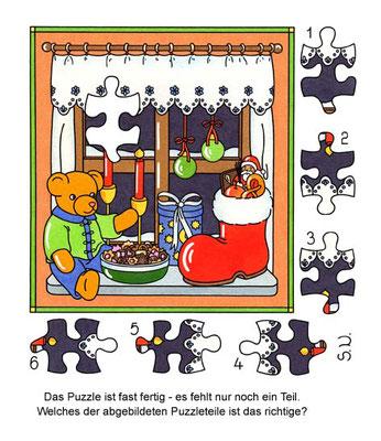 Weihnachtsrätsel, Suchbild, Nikolausgeschenke an einem Fenster, Puzzle, Bilderrätsel