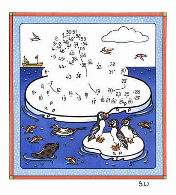 Malen nach Zahlen, Walross mit Papageitauchern, Winter, Bilderrätsel, Punkte verbinden