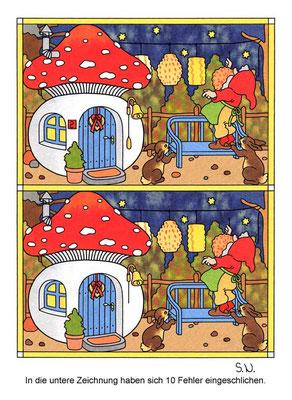Fehlersuchbild, Zwerg mit Lampions und Pilzhaus, Bilderrätsel