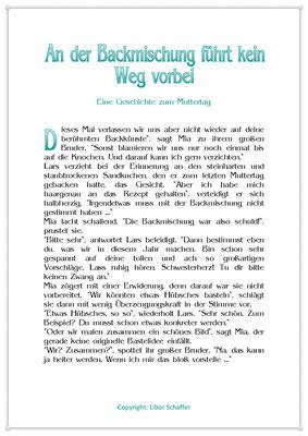 An der Backmischung führt kein Weg vorbei, Eine Kindergeschichte zum Muttertag, Seite 1