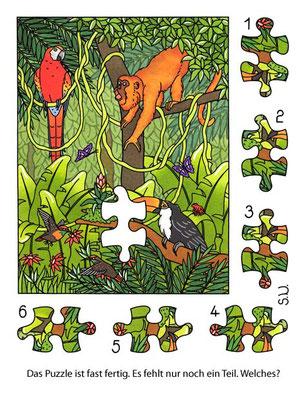 Suchbild, Tiere im Regenwald, Puzzle, Bilderrätsel