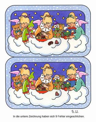Weihnachtsrätsel, Fehlersuchbild, Engel mit Geschenken, Bilderrätsel
