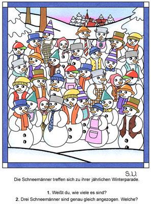 Suchbild, Schneemannparade, Winter, Bilderrätsel