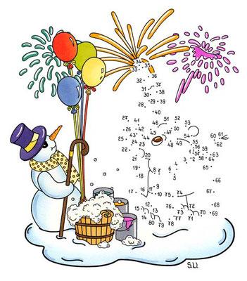 Malen nach Zahlen, Schneemann mit Elefant und Feuerwerk, Silvester, Bilderrätsel, Punkte verbinden