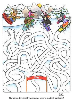 Labyrinth mit Tieren auf Snowboards, Winter, Bilderrätsel