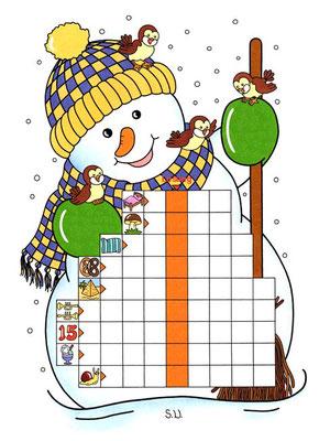 Worträtsel in einem Schneemann mit Vögeln, Winter, Bilderrätsel
