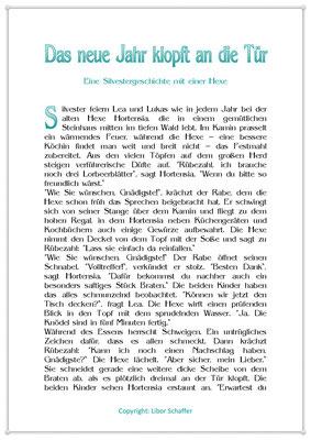 Das neue Jahr klopft an die Tür, Eine Silvestergeschichte für Kinder mit einer Hexe, Seite 1