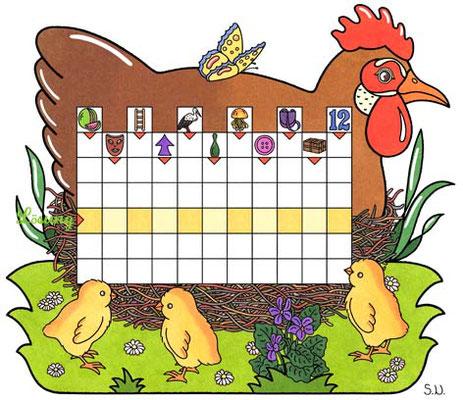 Osterrätsel, Worträtsel mit einer Henne auf dem Nest und Küken, Bilderrätsel