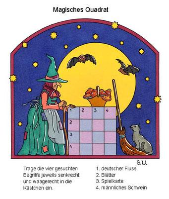 Magisches Quadrat, Hexe mit Mond, Halloween, Bilderrätsel