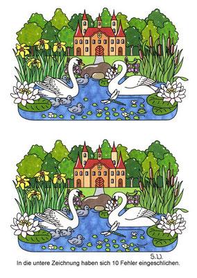 Fehlersuchbild, Schwäne im Teich mit Schloss, Bilderrätsel