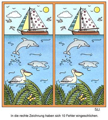 Fehlersuchbild, Segelboot und Delfine auf dem Meer, Bilderrätsel