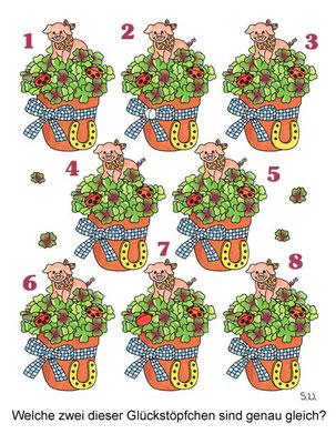 Suchbild, Glücksklee mit Schweinchen, Neujahr, Bilderrätsel
