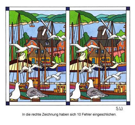 Fehlersuchbild, Hafen mit Schiffen und Möwen, Bilderrätsel