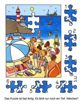 Suchbild, Kinder am Strand mit Leuchtturm, Puzzle, Bilderrätsel