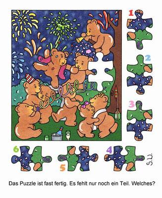 Suchbild, Bären feiern Silvester mit Feuerwerk, Puzzle, Bilderrätsel