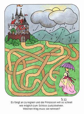 Labyrinth mit Prinzessin und Schloss, Bilderrätsel