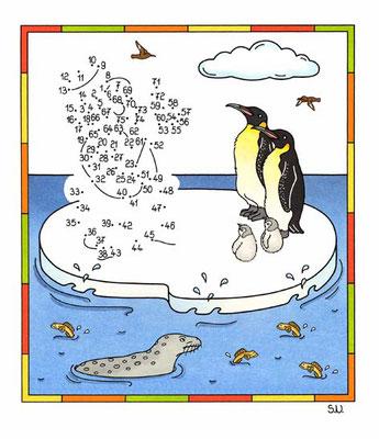 Malen nach Zahlen, Schneemann mit Pinguinen, Winter, Bilderrätsel, Punkte verbinden