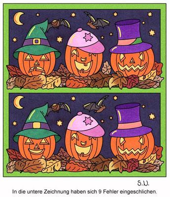 Fehlersuchbild, Kürbisse bei Nacht, Halloween, Bilderrätsel
