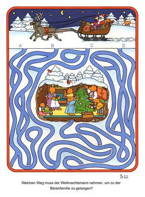 Weihnachtsrätsel, Labyrinth mit Weihnachtsmann und Bären in einer Höhle, Bilderrätsel