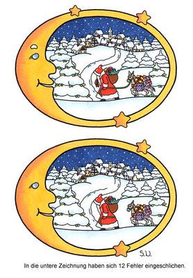 Weihnachtsrätsel, Fehlersuchbild, Weihnachtsmann im Schnee mit Mond, Bilderrätsel