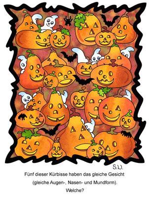 Suchbild Kürbisse, Halloween, Bilderrätsel