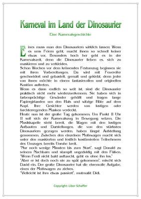 Karneval im Land der Dinosaurier, Eine Karnevalsgeschichte für Kinder, Seite1