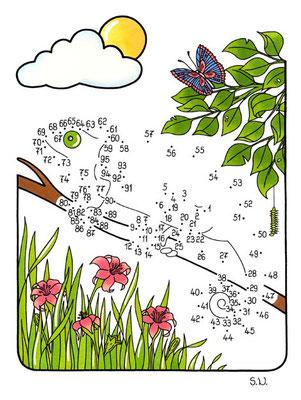 Malen nach Zahlen, Chamäleon mit Blumen, Bilderrätsel, Punkte verbinden