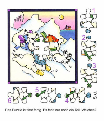 Suchbild mit drei Eisbärkindern, Puzzle, Winter, Bilderrätsel