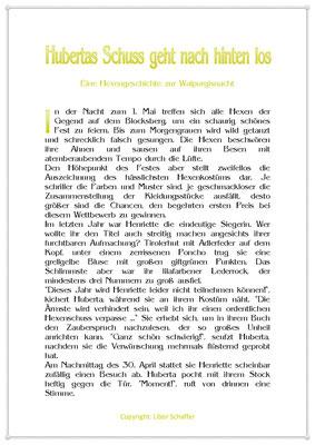 Hubertas Schuss geht nach hinten los, Eine Kindergeschichte zur Walpurgisnacht, Seite 1