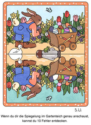 Osterrätsel, Fehlersuchbild, Osterhase versteckt Eier im Garten, Bilderrätsel