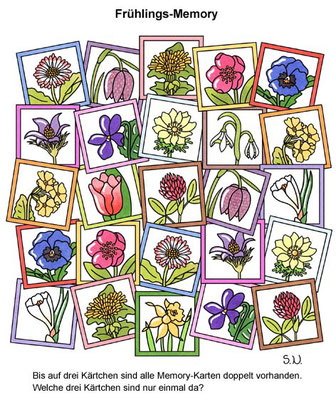 Suchbild Frühlings-Memory, Welche Karten sind nicht doppelt, Bilderrätsel