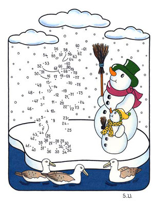 Malen nach Zahlen, Pinguin mit Schneemännern, Winter, Bilderrätsel, Punkte verbinden