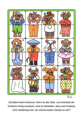 Suchbild, Ober- und Unterteile sollen zugeordnet werden, Karneval, Fasching, Bilderrätsel